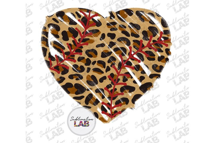 Baseball Heart Leopard Sublimation Design Baseball Softball