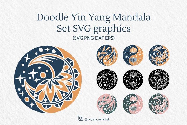Doodle Yin Yang Mandala Set SVG graphics - Silhouette