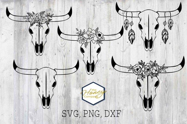 Cow Skull Bundle Floral Feather SVG PNG DXF Boho Cut File