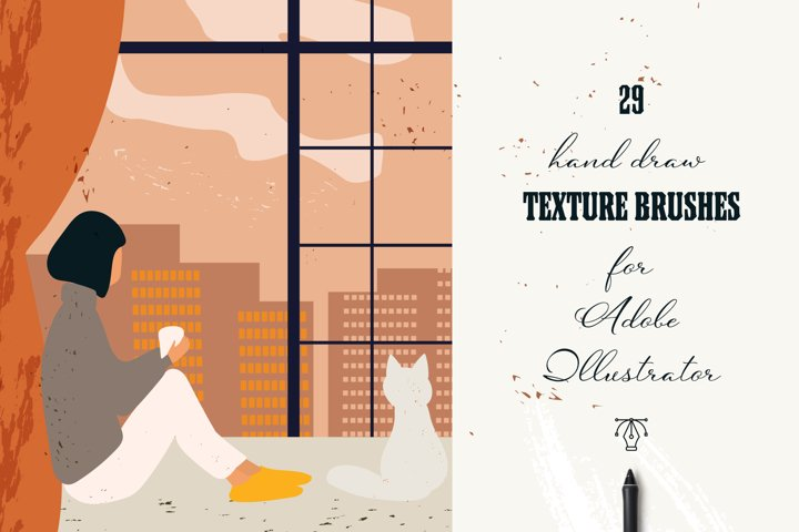 29 Hand draw vector texture brushes