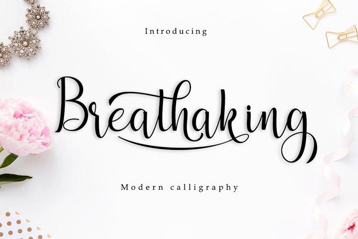 Breathaking script Font
