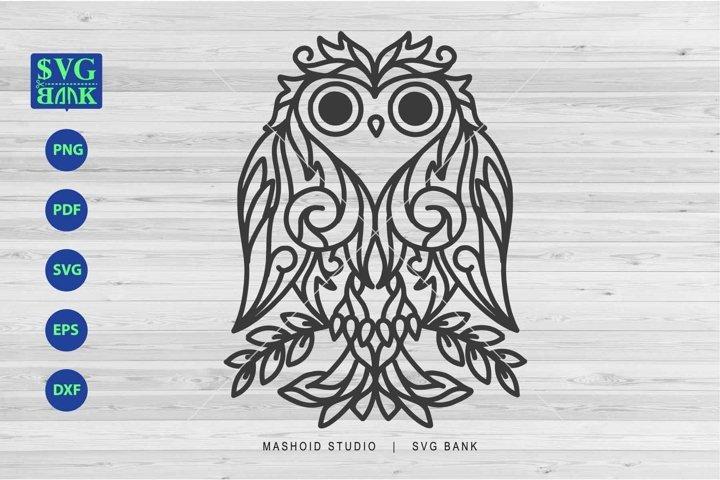 Owl Mandala, Owl Zentangle, Owl SVG, Floral Owl Cut File