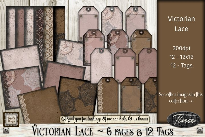 Victorian Lace Brown Pink Pages Tags Crochet Cogs Steampunk