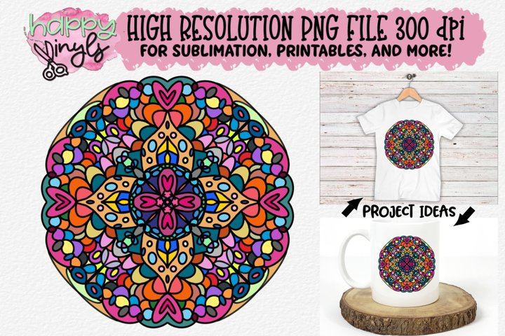 Mandala Bold w/ Hearts Sublimation Design - A High Res PNG