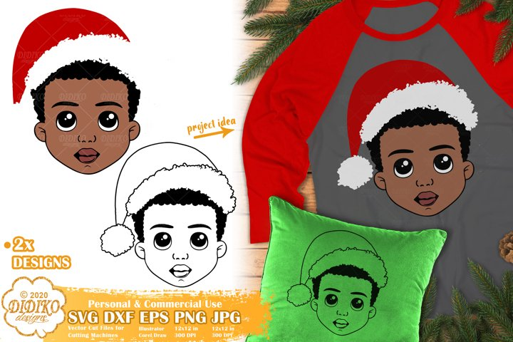 Black Boy SVG | Christmas SVG | Afro Boy SVG | Christmas Hat