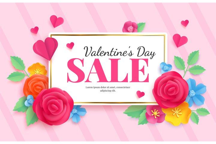 Paper art valentines sale. Love celebration voucher banner w