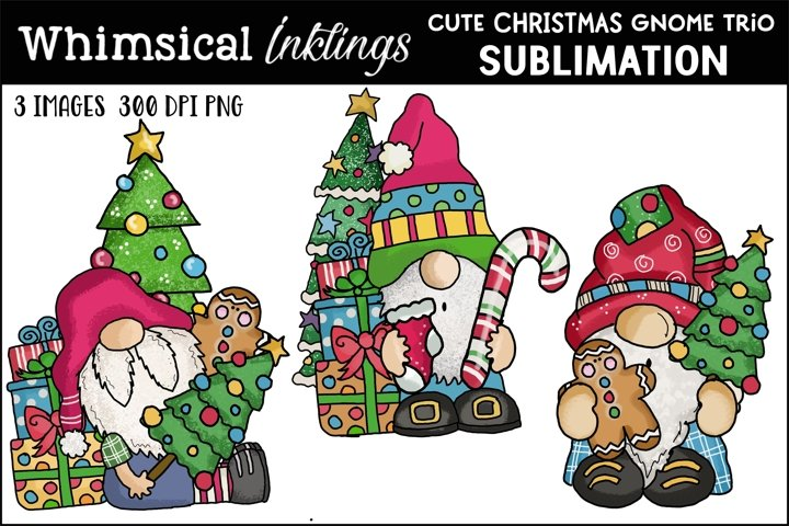 Cute Christmas Gnome Trio Sublimation Clipart
