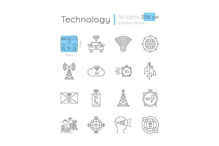 5G connection linear icons set