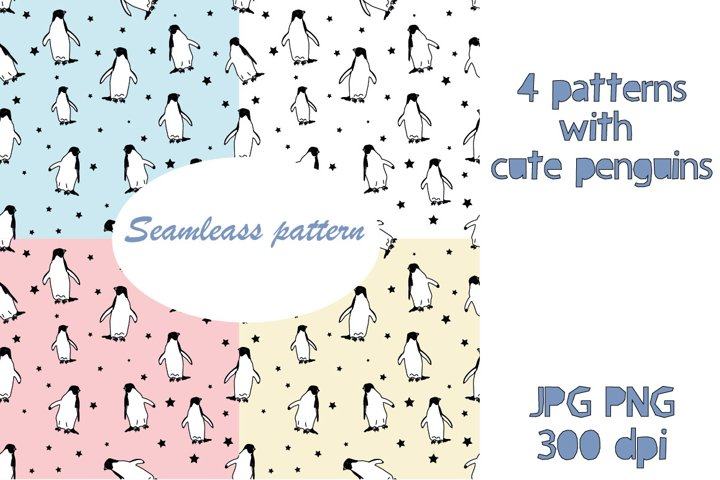 Cute penguins seamless pattern sublimation