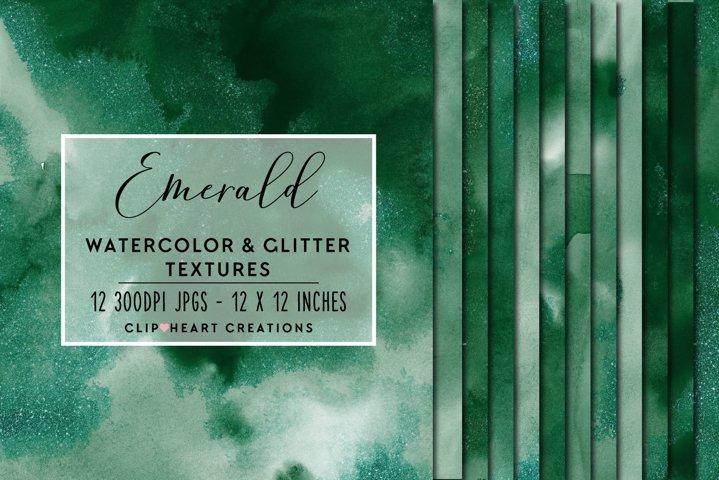 Green Glitter Watercolor Digital Papers