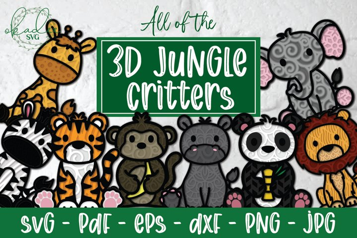 3D Jungle Animal Bundle, All of the Jungle Animals Papercut