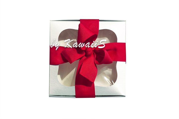 New year Christmas silver gift box red bow white background