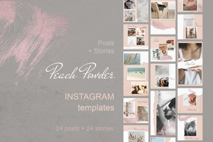 Instagram Template Posts and Stories Peach Powder
