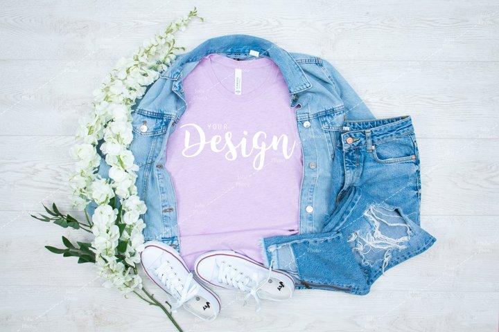 Bella Canvas 3001 Heather Prism Lilac T-shirt Mockup Summer