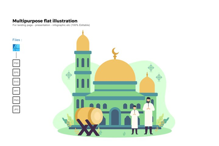 Flat illustration happy ied mubarak 2020