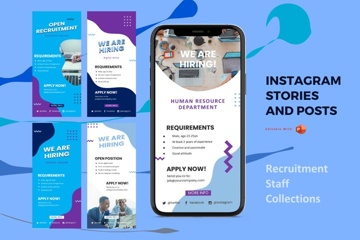 Instagram stories and posts powerpoint template - recruitmen