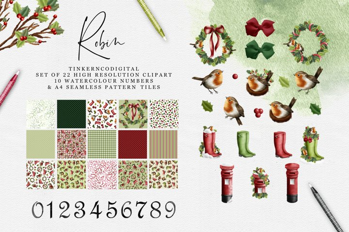 Christmas Robin Clipart and seamless patterned paper tiles
