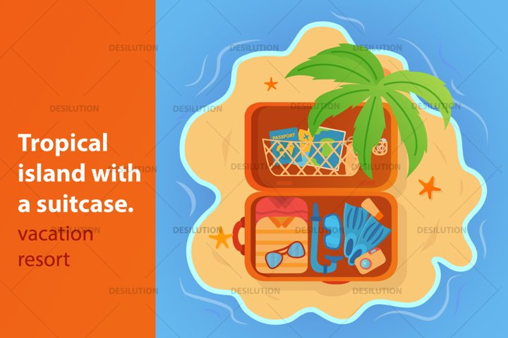 Tropical summer vacation suitcase.