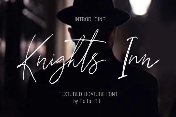 Knights Inn. Textured signature brush font.