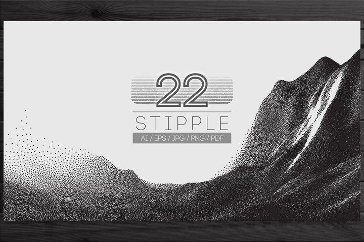22 Stipple Landscapes Vector