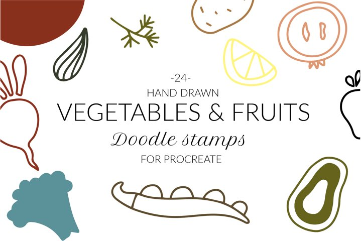 Doodle abstract garden veggies, fruits stamps for Procreate