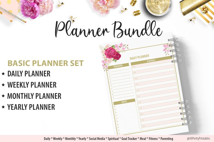 Beautiful Floral Daily Weekly Monthly Yearly Planner Bundle