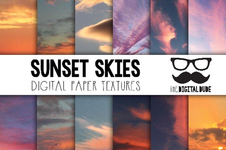 Sunset Skies - Digital Paper Set of 12 Images