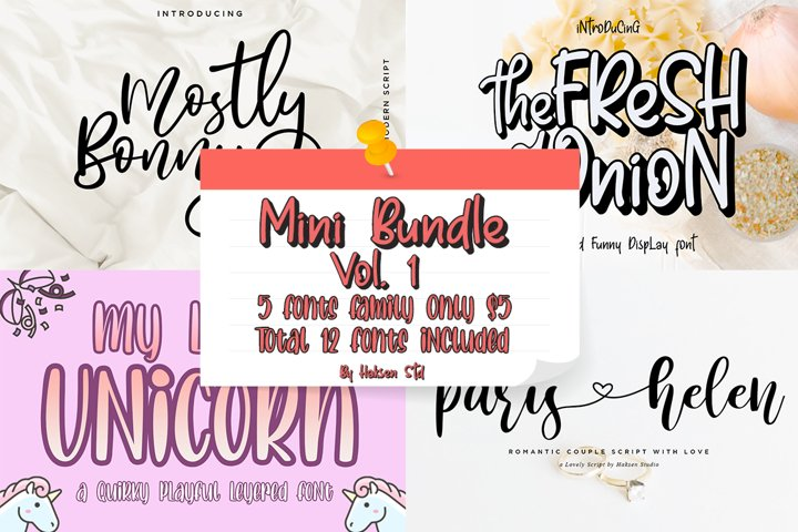 Mini Bundle Vol. 1 // 5 Families Font Only $5