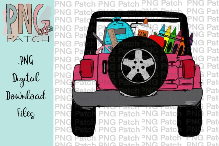Pink Topless SUV Truck with School Supplies, School PNG