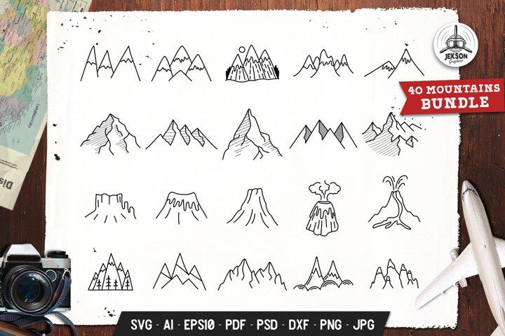 Mountains Set Adventure Line Art Vector Graphic SVG Cricut