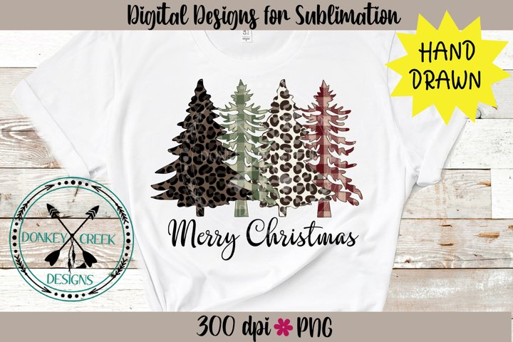 Leopard and Plaid Merry Christmas Hand Drawn Trees PNG