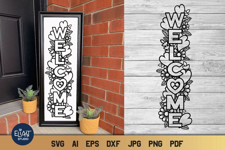Valentines Day SVG | Welcome SVG Porch Sign with Hearts