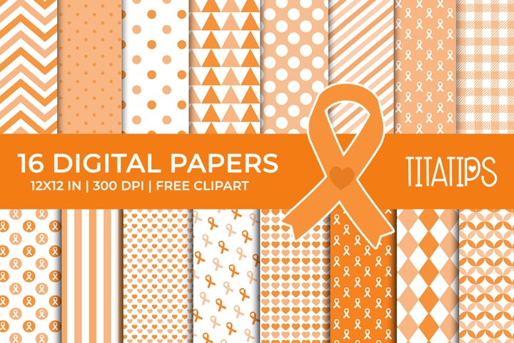 Cancer Awareness Digital Papers, Ribbon Patterns