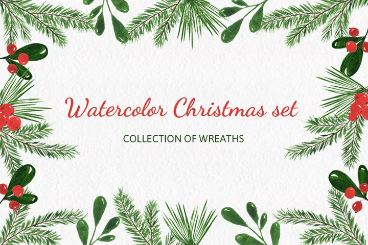 Christmas watercolor collection. Hand drawn illustrations.