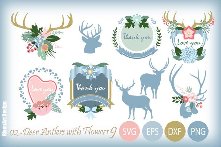 Deer and Antlers Floral Decoration