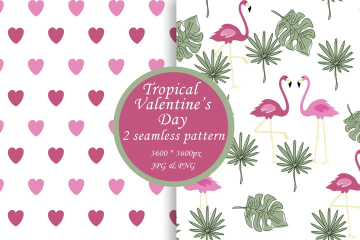 Valentines day seamless pattern Pink flamingo digital paper