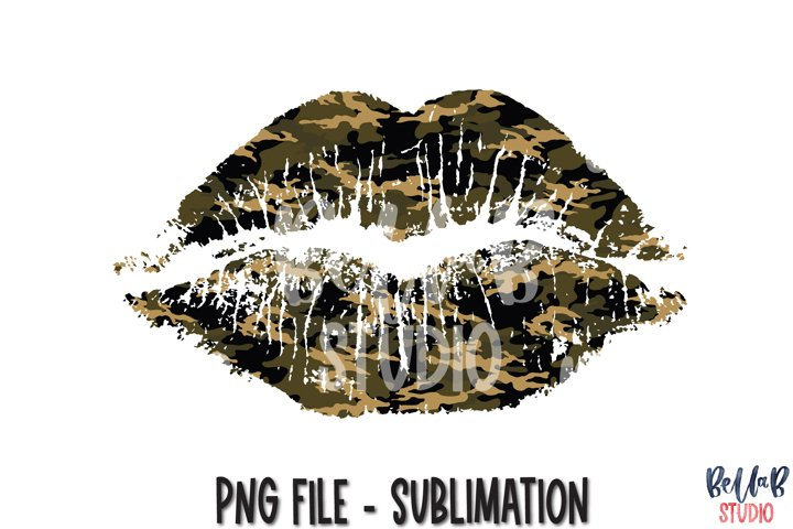 Camouflage Lips Sublimation Design, Camo Lips Sublimation