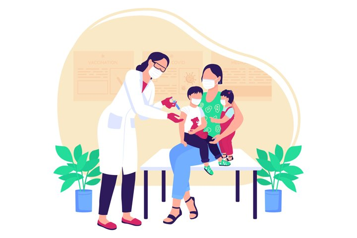 Pediatric vaccine flat concept vector illustration