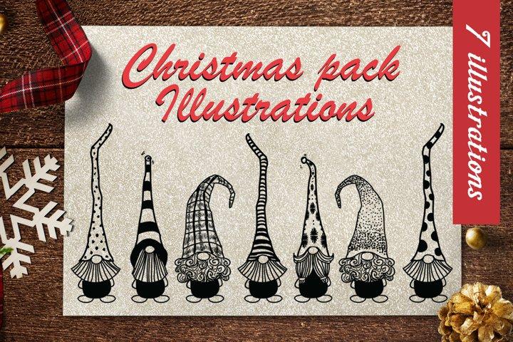 Christmas Pack Illustrations - 7 vector illustrations