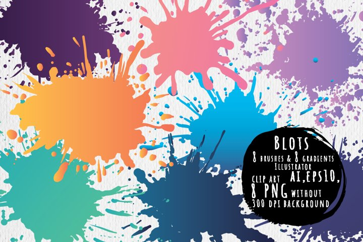 Blots brushes and gradients for Illustrator, Elements PNG