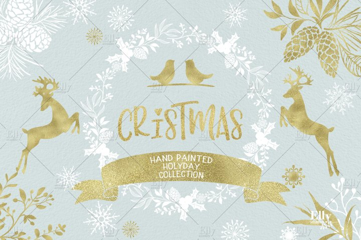 Christmas Clip Art, Gold Christmas Graphics, Winter Clipart