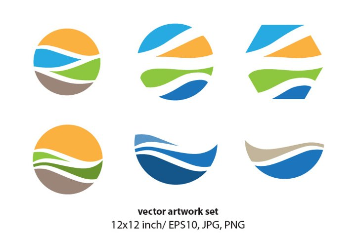abstract landscape - VECTOR ARTWORK SET