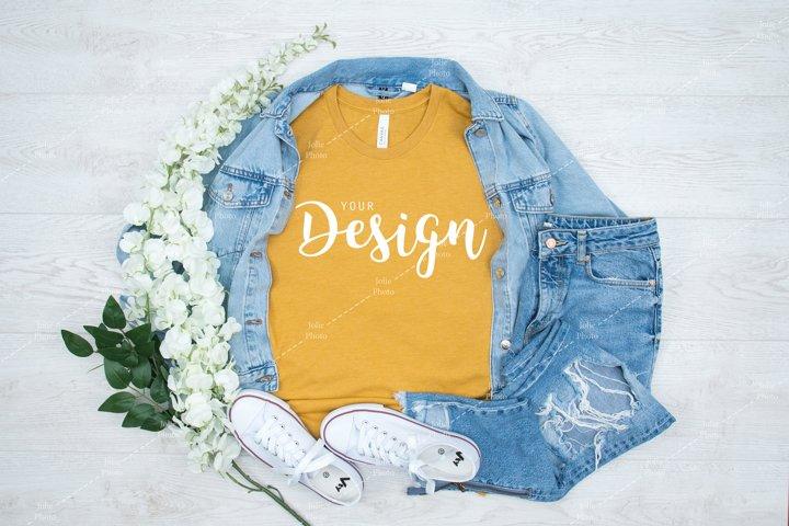 Bella Canvas 3001 Heather Mustard T-shirt Mockup for Summer