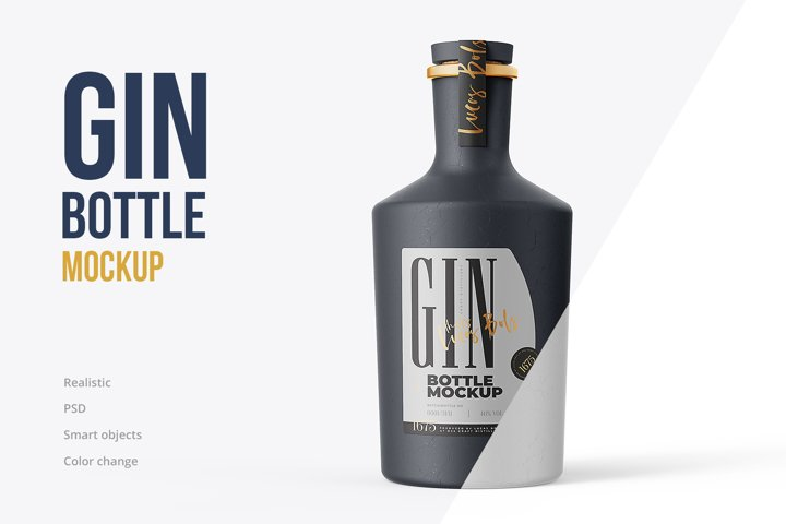 Gin Ceramic Bottle Mockup