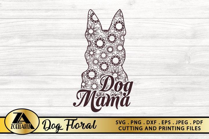 Floral Dog SVG PNG EPS DXF Dog Mama SVG Dog Mandala SVG