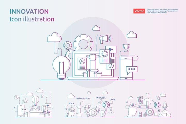 4 items vector Icon Illustration of idea innovation process