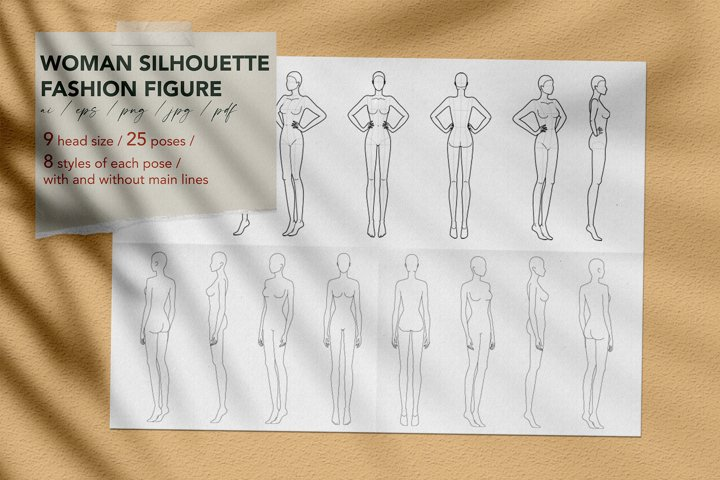 Women fashion figure template set with 25 poses in 9 head