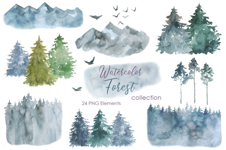 Watercolor Forest Clipart. Winter Forest PNG