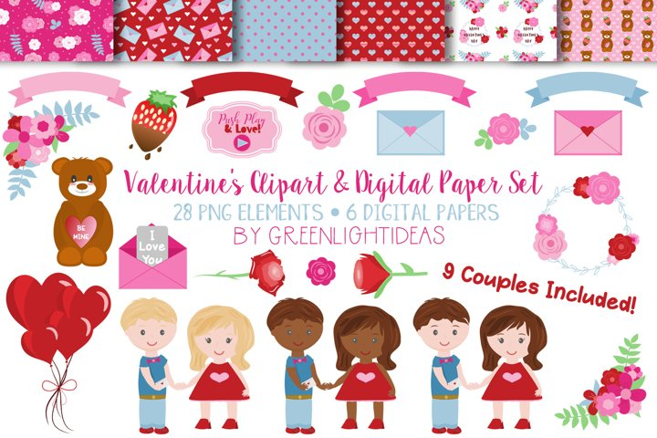 Valentines Day Clipart Set and Digital Papers