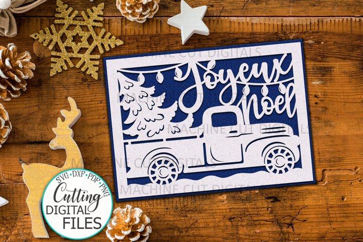 Joyeux Noel card papercut svg laser cut cricut template